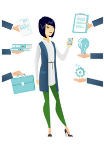 Asian hard working business woman. Hard working business woman surrounded by many hands that give her a lot of work. Hard working concept. Vector flat design illustration isolated on white background.