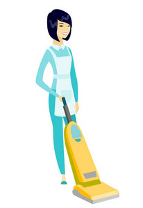 Asian hotel female chambermaid in uniform cleaning floor with a vacuum cleaner. Full length of young chambermaid with a vacuum cleaner. Vector flat design illustration isolated on white background.
