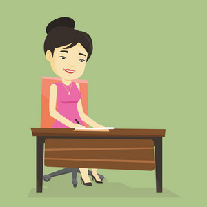 Asian journalist working at the table in office. Young journalist sitting at the table and writing notes in notebook. Journalist writing an article. Vector flat design illustration. Square layout.