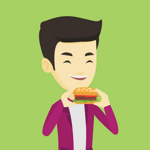 Asian joyful man eating hamburger. Happy man with closed eyes biting hamburger. Young smiling man is about to eat delicious hamburger. Vector flat design illustration. Square layout.