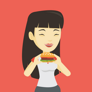 Asian joyful woman eating hamburger. Happy woman with closed eyes biting hamburger. Young smiling woman is about to eat delicious hamburger. Vector flat design illustration. Square layout.
