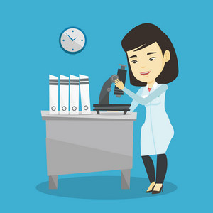 Asian laboratory assistant working with microscope. Young smiling scientist working at the laboratory. Laboratory assistant using a microscope. Vector flat design illustration. Square layout.