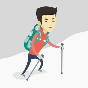 Asian male mountaineer climbing a snowy ridge. Young happy mountaineer climbing a mountain. Male mountaineer with backpack walking up along a ridge. Vector flat design illustration. Square layout.