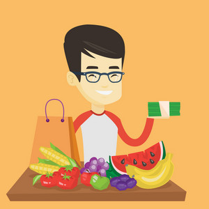 Asian male shopper standing at the table with grocery purchases. Young shopper holding money in hand in front of table with grocery purchases. Vector flat design illustration. Square layout.
