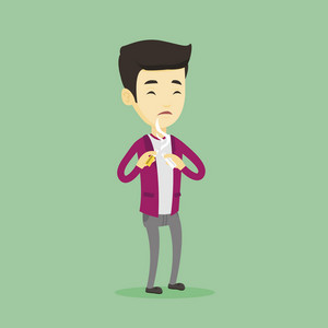 Asian man breaking the cigarette. Young man crushing cigarette. Sad man holding broken cigarette. Quit smoking concept. Vector flat design illustration. Square layout.