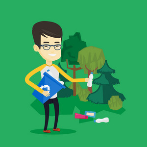 Asian man collecting garbage in recycle bin. Young man with recycling bin in hand picking up used plastic bottles in forest. Waste recycling concept. Vector flat design illustration. Square layout.