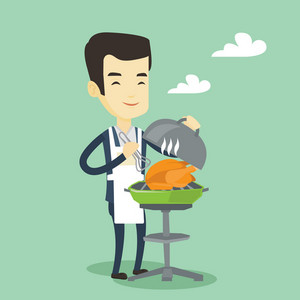 Asian man cooking chicken on barbecue grill outdoors. Smiling man having a barbecue party outdoor. Happy man preparing chicken on barbecue grill. Vector flat design illustration. Square layout.
