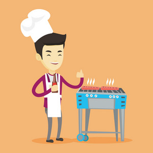 Asian man cooking steak on the barbecue grill outdoors. Adult happy man with bottle in hand cooking steak on gas barbecue grill and giving thumb up. Vector flat design illustration. Square layout.