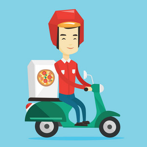 Asian man delivering pizza on scooter. Courier driving a motorbike and delivering pizza. Worker of delivery service of pizza. Food delivery concept. Vector flat design illustration. Square layout.
