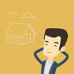 Asian man dreaming about future life in a new house. Smiling man planning future purchase of his own house. Young man thinking about buying a house. Vector flat design illustration. Square layout.