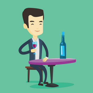 Asian man drinking wine at restaurant. Adult man sitting at the table with glass and bottle of wine. Cheerful man enjoying a drink at wine bar. Vector flat design illustration. Square layout.