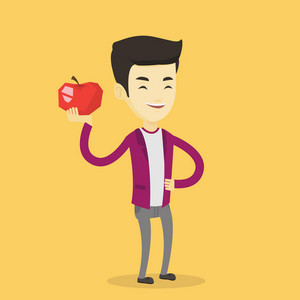 Asian man enjoying fresh healthy red apple. Young man holding an apple in hand. Cheerful man eating an apple. Concept of healthy nutrition. Vector flat design illustration. Square layout.