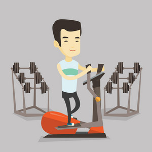 Asian man exercising on elliptical trainer. Young man working out using elliptical trainer in the gym. Man doing exercises on elliptical trainer. Vector flat design illustration. Square layout.