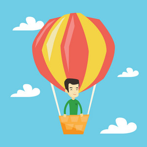 Asian man flying in a hot air balloon. Man standing in the basket of hot air balloon. Man traveling in hot air balloon. Man riding a hot air balloon. Vector flat design illustration. Square layout.