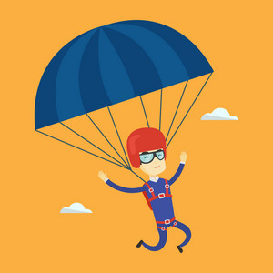 Asian man flying with a parachute. Young happy man paragliding on a parachute. Professional parachutist descending with a parachute in the sky. Vector flat design illustration. Square layout.