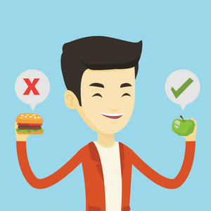 Asian man holding apple and hamburger in hands. Man choosing between apple and hamburger. Man choosing between healthy and unhealthy nutrition. Vector flat design illustration. Square layout.