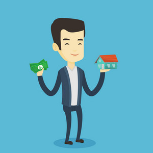 Asian man holding money and model of house. Happy young man having loan for house. Smiling man got loan for buying a new house. Real estate loan concept. Vector flat design illustration. Square layout