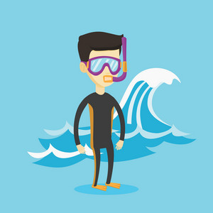 Asian man in diving suit, flippers, mask and tube standing on the background of a big sea wave. Man enjoying snorkeling. Diver ready for snorkeling. Vector flat design illustration. Square layout.