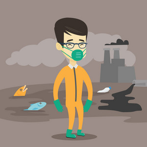 Asian man in gas mask and radiation protective suit standing on the background of nuclear power plant. Scientist wearing radiation protection suit. Vector flat design illustration. Square layout.