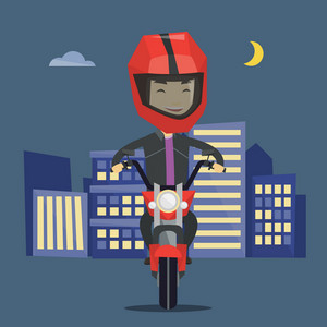 Asian man in helmet riding a motorcycle on the background of night city. Man driving a motorcycle on a city road. Happy man riding a motorcycle at night. Vector flat design illustration. Square layout