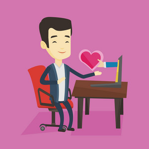Asian man looking for online date on the internet. Young man using laptop and dating online. Man dating online and getting virtual love message. Vector flat design illustration. Square layout.