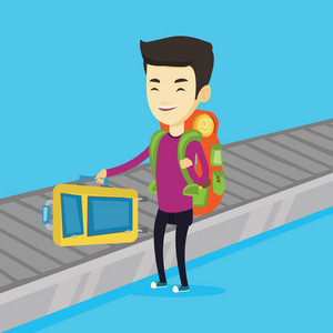 Asian man picking up suitcase on luggage conveyor belt at airport. Man collecting her luggage at conveyor belt. Man taking luggage at conveyor belt. Vector flat design illustration. Square layout.