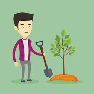 Asian man plants a small tree. Cheerful man standing with shovel near newly planted tree. Young man gardening. Concept of environmental protection. Vector flat design illustration. Square layout.