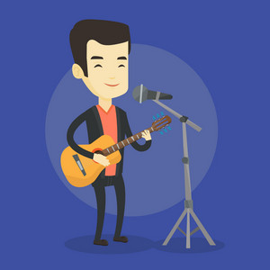 Asian man playing guitar. Young guitar player singing song and playing an acoustic guitar. Singer singing into a microphone and playing acoustic guitar. Vector flat design illustration. Square layout.