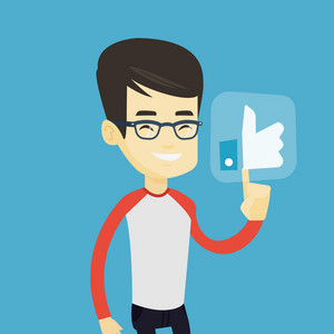 Asian man pressing modern social network button with thumb up. Young happy man pressing like button. Smiling man pressing social network like button. Vector flat design illustration. Square layout.