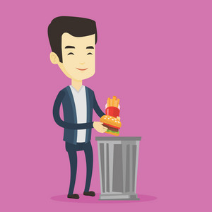 Asian man putting junk food into a trash bin. Adult man refusing to eat junk food. Man rejecting junk food. Man throwing junk food. Diet concept. Vector flat design illustration. Square layout.