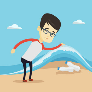 Asian man showing plastic bottles under water of sea. Young man collecting plastic bottles from water. Water pollution and plastic pollution concept. Vector flat design illustration. Square layout.