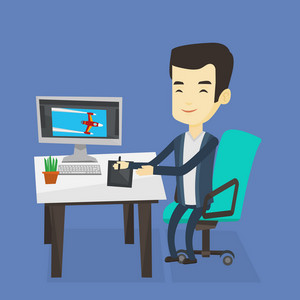 Asian man sitting at desk and drawing on graphics tablet. Graphic designer using a digital graphics tablet, computer and pen. Graphic designer at work. Vector flat design illustration. Square layout.