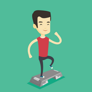 Asian man training with stepper in the gym. Young man doing step exercises. Man working out with stepper in the gym. Sportsman standing on stepper. Vector flat design illustration. Square layout.