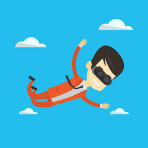 Asian man wearing virtual reality headset and flying in the sky. Man in vr device having fun while playing videogame. Man flying in virtual reality. Vector flat design illustration. Square layout.