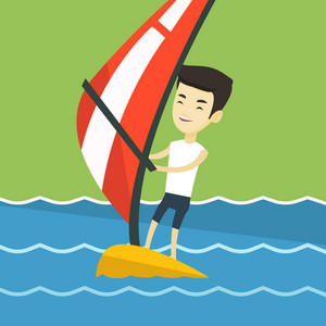 Asian man windsurfing at bright summer day. Man standing on the board with sail for surfing. Man learning to windsurf. Windsurfer training on the water. Vector flat design illustration. Square layout.
