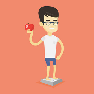 Asian man with apple in hand weighing after diet. Young man satisfied with the result of his diet. Man on a diet. Dieting and healthy lifestyle concept. Vector flat design illustration. Square layout.