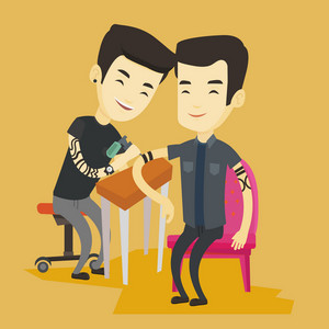 Asian master tattoo artist makes a tattoo on the hand of young man. Tattooist makes a tattoo to a male client. Professional tattoo artist at work. Vector flat design illustration. Square layout.