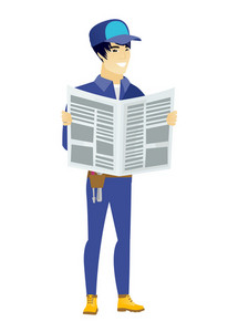 Asian mechanic reading newspaper. Happy mechanic standing with newspaper in hands. Young mechanic reading good news in newspaper. Vector flat design illustration isolated on white background.