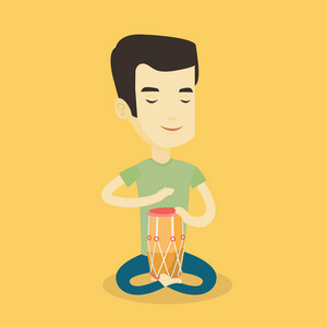 Asian mucisian playing ethnic drum. Young mucisian with eyes closed playing ethnic drum. Man playing ethnic music on tom-tom. Vector flat design illustration. Square layout.