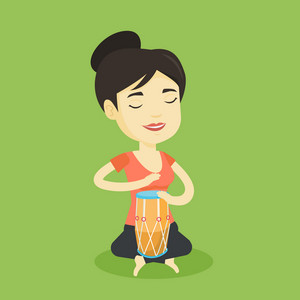 Asian mucisian playing ethnic drum. Young mucisian with eyes closed playing ethnic drum. Woman playing ethnic music on tom-tom. Vector flat design illustration. Square layout.
