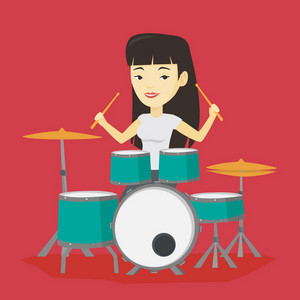 Asian mucisian playing on drums. Young mucisian playing on drums. Smiling young woman playing on drum kit. Happy woman sitting behind the drum kit. Vector flat design illustration. Square layout.