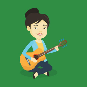 Asian musician playing an acoustic guitar. Friendly musician sitting with guitar in hands. Young female guitarist practicing in playing guitar. Vector flat design illustration. Square layout.