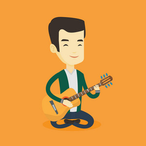 Asian musician playing an acoustic guitar. Friendly musician sitting with guitar in hands. Young guitarist practicing in playing guitar. Vector flat design illustration. Square layout.