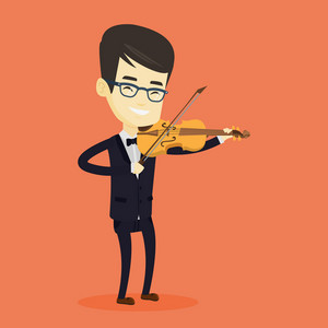 Asian musician standing with violin. Young smiling musician playing violin. Cheerful violinist playing classical music on violin. Vector flat design illustration. Square layout.