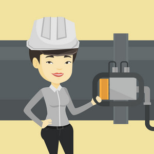 Asian operator of oil refinery plant checking detector on pipeline. Worker standing on the background of pipeline. Technician maintaining pipeline. Vector flat design illustration. Square layout.