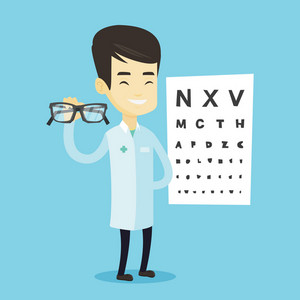 Asian ophthalmologist doctor giving glasses. Ophthalmologist doctor holding eyeglasses on the background of eye chart. Ophthalmologist offering glasses. Vector flat design illustration. Square layout.
