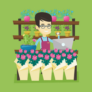 Asian owner of flower shop using phone and laptop to take order. Young owner of flower shop standing behind the counter. Owner of flower shop at work. Vector flat design illustration. Square layout.