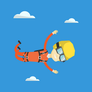 Asian parachutist jumping with parachute. Professional male parachutist falling through the air. Happy young man flying with parachute in clouds. Vector flat design illustration. Square layout.