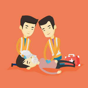 Asian paramedics doing cardiopulmonary resuscitation of young man. Team of professional emergency doctors during process of resuscitation of injured man. Vector flat design illustration. Square layout