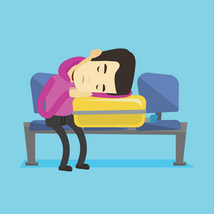 Asian passenger sleeping on luggage in airport. Exhausted man sleeping on suitcase at airport. Young man waiting for a flight and sleeping on suitcase. Vector flat design illustration. Square layout.